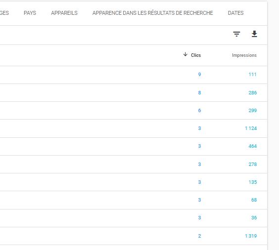 search console clics et requêtes