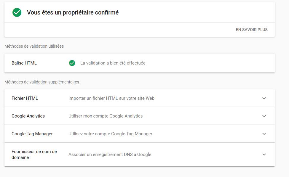 search console paramètres