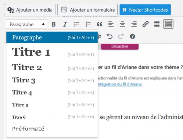 balises H1 H2 H3 dans le contenu éditorial dans l'admin wordpress