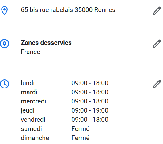 adresse horaire fiche google mybusiness