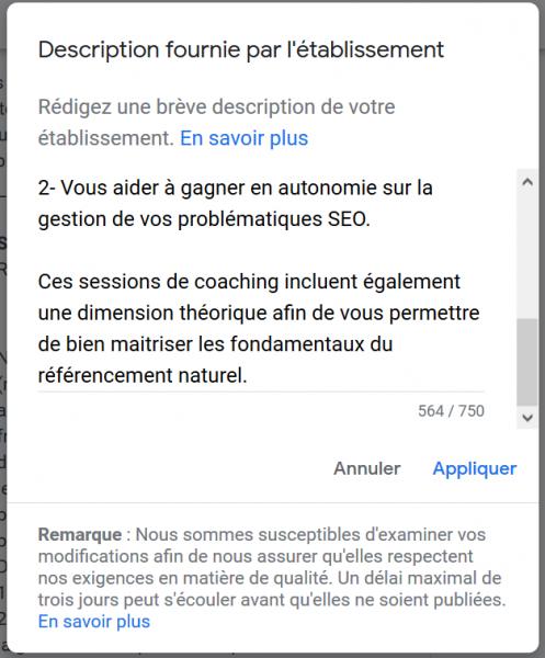 descriptif entreprise google mybusiness